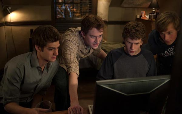 "L-r, Andrew Garfield, Joseph Mazzello, Jesse Eisenberg and Patrick Maple in Columbia Pictures' ""The Social Network."""