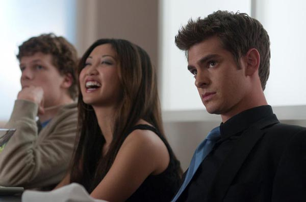 "L-r, Jesse Eisenberg, Brenda Song and Andrew Garfield  in Columbia Pictures' ""The Social Network."""