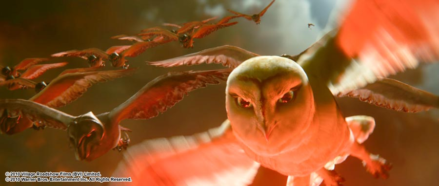 """Nyra, as voiced by HELEN MIRREN, backed by her soldiers in Warner Bros. Pictures' and Village Roadshow Pictures' family fantasy adventure """"Legend of the Guardians: The Owls of Ga'Hoole,"""" released by Warner Bros. Pictures. PHOTOGRAPHS TO BE USED SOLELY FOR ADVERTISING, PROMOTION, PUBLICITY OR REVIEWS OF THIS SPECIFIC MOTION PICTURE AND TO REMAIN THE PROPERTY OF THE STUDIO. NOT FOR SALE OR REDISTRIBUTION."""