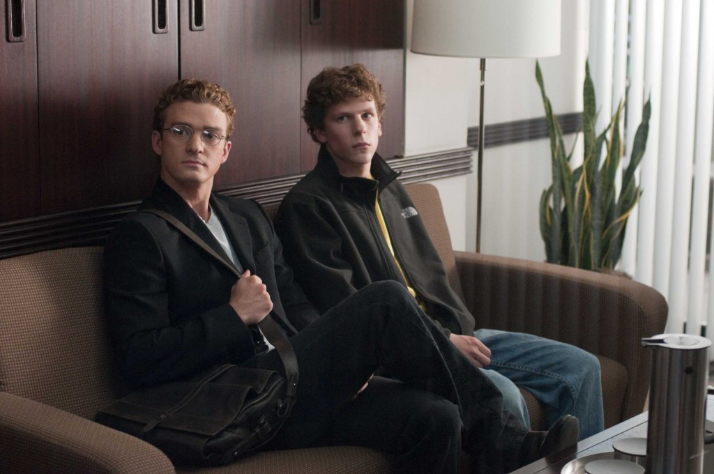 "Justin Timberlake, left, and Jesse Eisenberg in Columbia Pictures' ""The Social Network."""