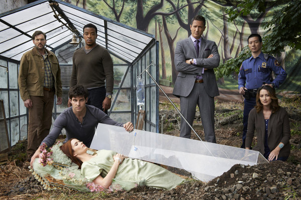 GRIMM -- Season: 2 -- Pictured: (l-r) Russell Hornsby as Hank Griffin, Silas Weir Mitchell as Monroe, David Giuntoli as Nick Burkhardt, Bitsie Tulloch as Juliette Silverton, Sasha Roiz as Cpt. Renard, Bree Turner as Rosalee, Reggie Lee as Sgt. Wu -- (Photo by: Michael Muller/NBC)